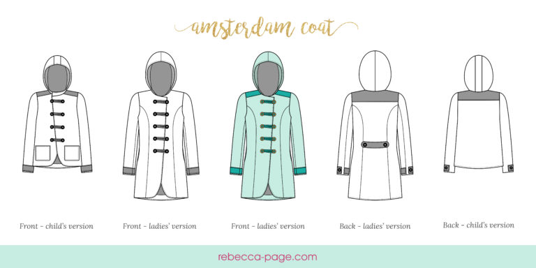 Fully lined all-weather coat pattern. You can use different fabrics for different weather, or even make a raincoat with waterproof fabric!