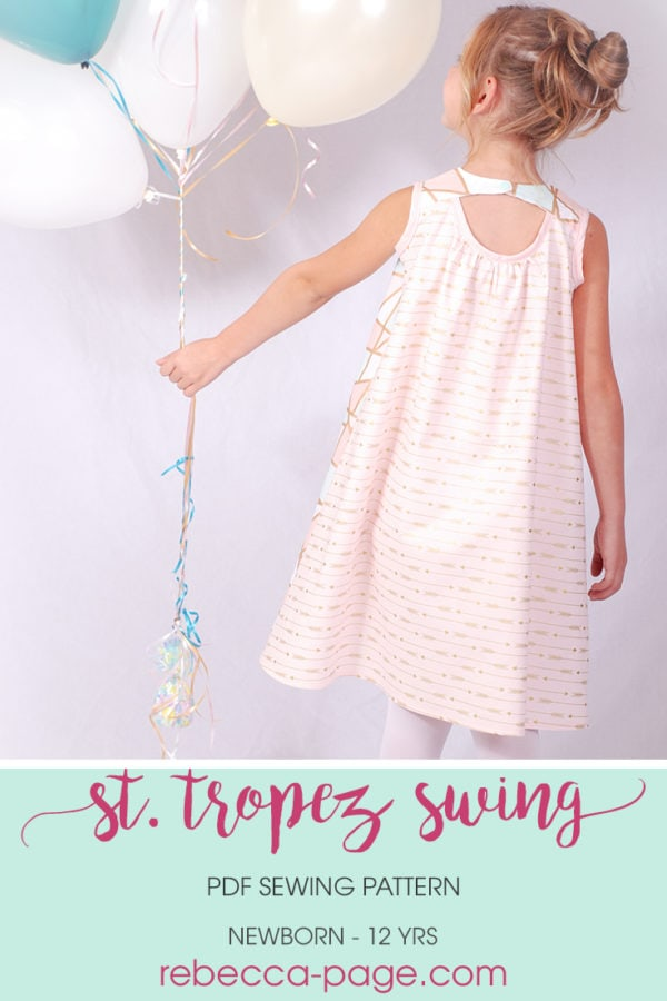 The St. Tropez Swing is a pretty, comfortable, and versatile girls swing top and dress sewing pattern with cut out detail in the back.