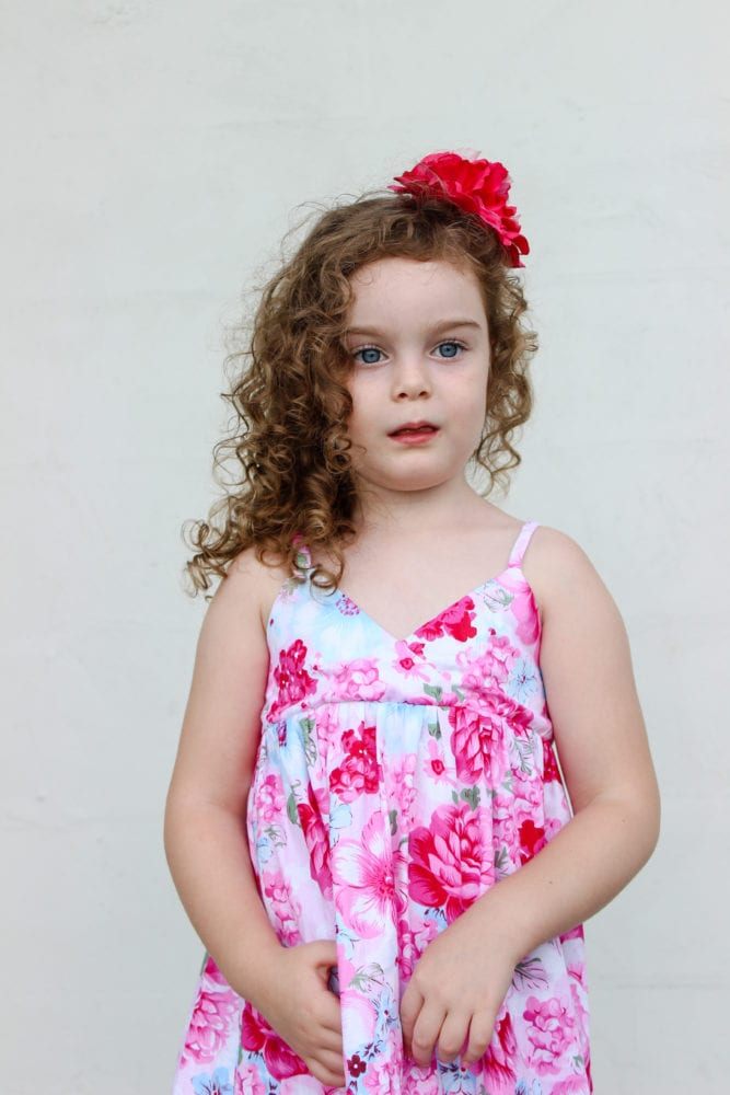 This gorgeous childrens dress sewing pattern can be made from knit or woven and has three length options (tunic, knee or maxi).