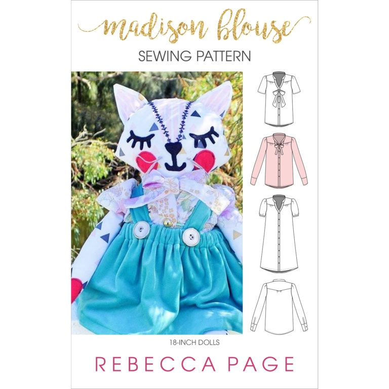 The Madison is a gorgeous dolls tie neck blouse sewing pattern that can be lengthened to a dress! It's a beautifully-finished garment for an 18-inch doll.