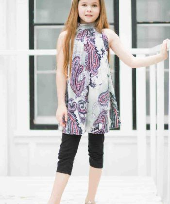The Emma is a childrens high neck dress pattern that has a fitted neckband with a loose, flared body, 5 length options, and magnificent loveliness for days!