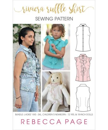 The Riviera Ruffle ruffle shirt pattern for ladies, children, and 18-inch dolls is ever so pretty and really versatile with many options!