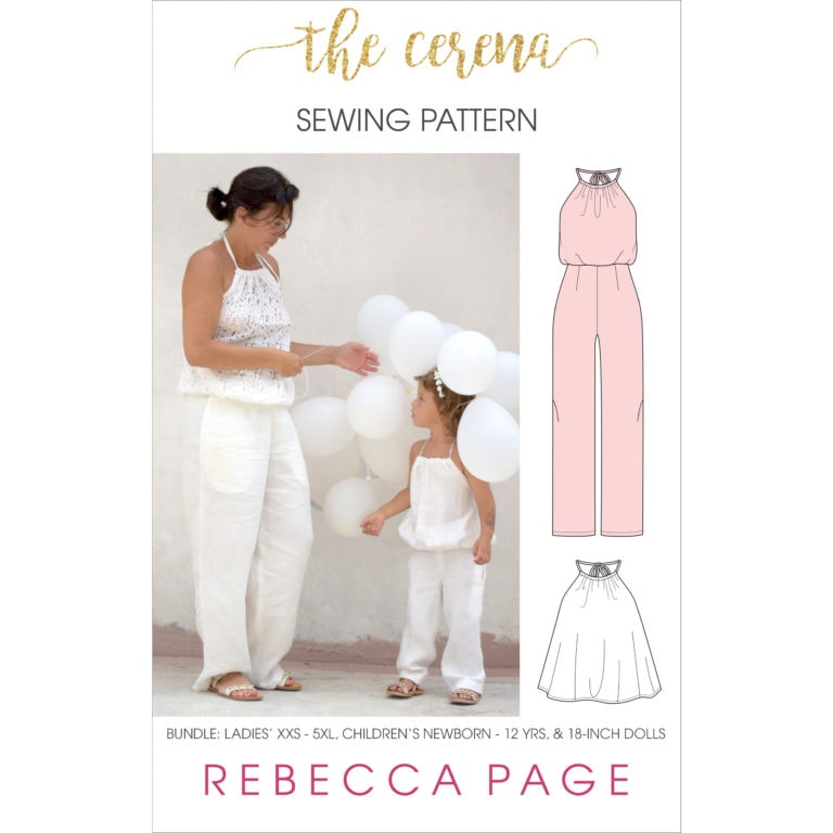 The Cerena Bundle is romper sewing pattern for ladies, children, and 18-inch dolls. It can be sewn as a romper with three length options or as a top!