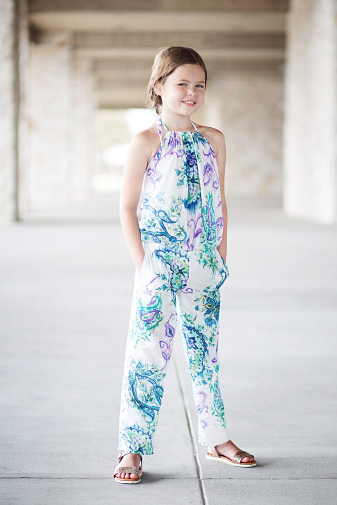 The Cerena is a childrens romper pattern that can be sewn up as a top or a romper! The romper has three leg length options and pockets!