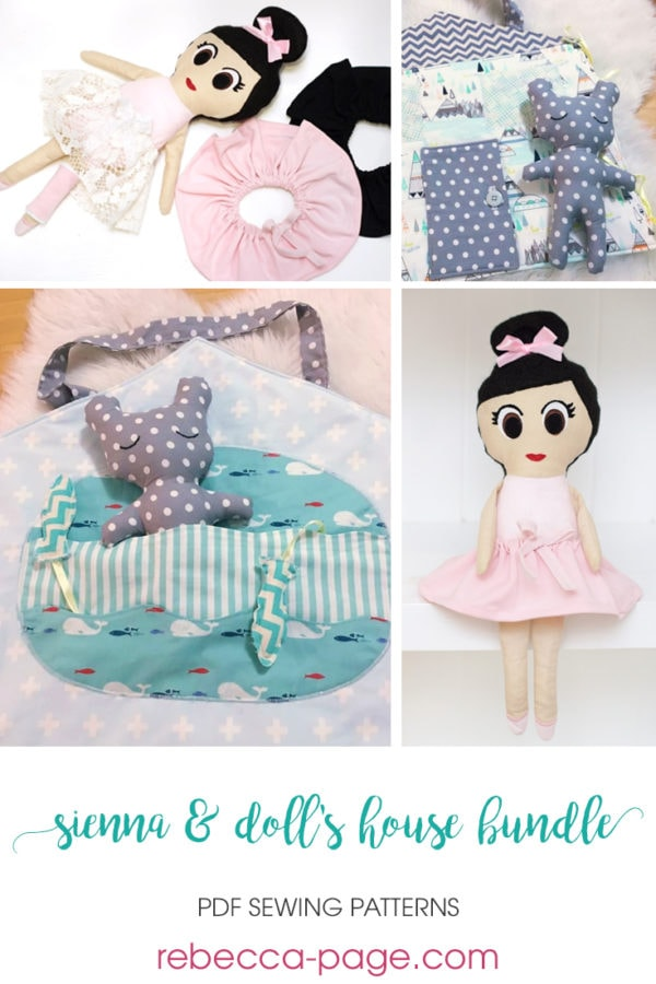 The Playtime Bundle is made up of two of our most adorable doll sewing patterns! You get the Sienna Doll and the Dolls' House Quiet Book patterns in one!