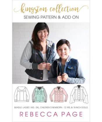 A denim jacket pattern extras pack! Super charge your Kingston jacket with optional knit sleeves, hood, and waistband, welt pockets, and more!