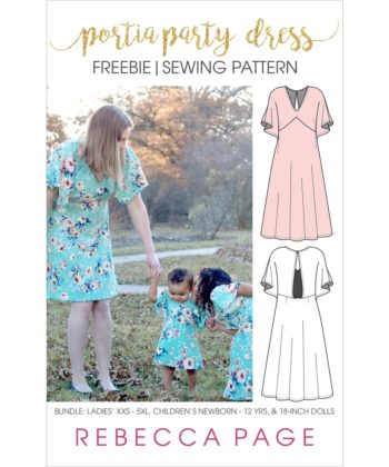The Free Portia Party Dress Bundle pattern. It includes ONE length option (knee length), and pattern pieces & instructions for KNIT fabrics only.