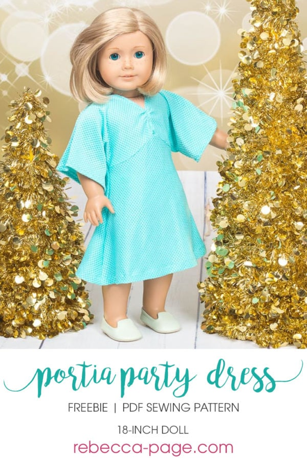 This is the Free Dolls Portia Party Dress. It includes ONE length option (knee length), and pattern pieces & instructions for KNIT fabrics only.
