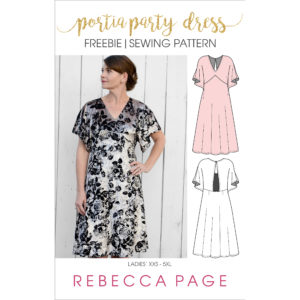 This is the Ladies FREE Portia Party Dress. It includes ONE length option (knee length), and pattern pieces & instructions for KNIT fabrics only.