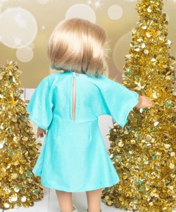 This lovely 18 inch dolls party dress pattern can be made in 4 lengths (maxi, midi, knee and, above knee length) and in either woven or knit fabric.