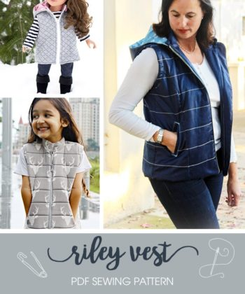 The Riley Vest Bundle including the ladies, childs and dolls Riley vest pattern! Fully lined, super cosy and really stylish!