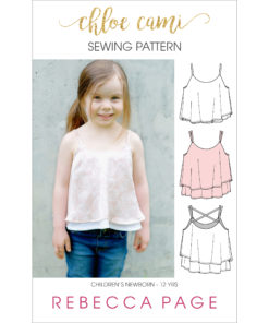 The Chloe Cami is a supremely beautiful childrens cami sewing pattern that is an ideal starting block for dressing an outfit up or down.