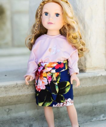 The Paige dolls pencil skirt sewing pattern is a super cute, straight-side, elasticated-waist pencil skirt for easy dolly dress ups.