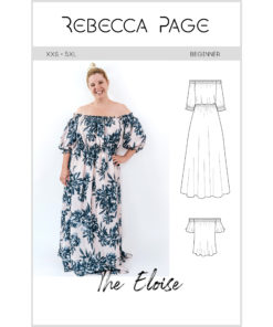 Eloise, the ladies off the shoulder maxi sewing pattern, is a breezy swim cover up, a deliciously leisurely lunch outfit, or even a cocktail evening maxi.