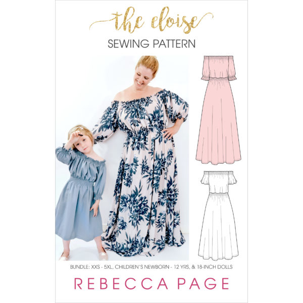 Eloise, a beautiful off the shoulder maxi dress sewing pattern, is a breezy swimwear cover up, a perfect summertime dress, and even a special-occasion maxi.