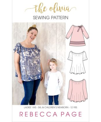 Olivia is a boho top sewing pattern that is simply beautiful with a gathered boat neck and a relaxed, comfy fit that is loose and floaty around the body.