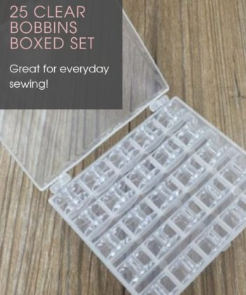 25 Clear Bobbins Boxed Set. Includes 1x plastic box of 25 clear bobbins. Sold from Rebecca Page, home of sewing, accessories and patterns.