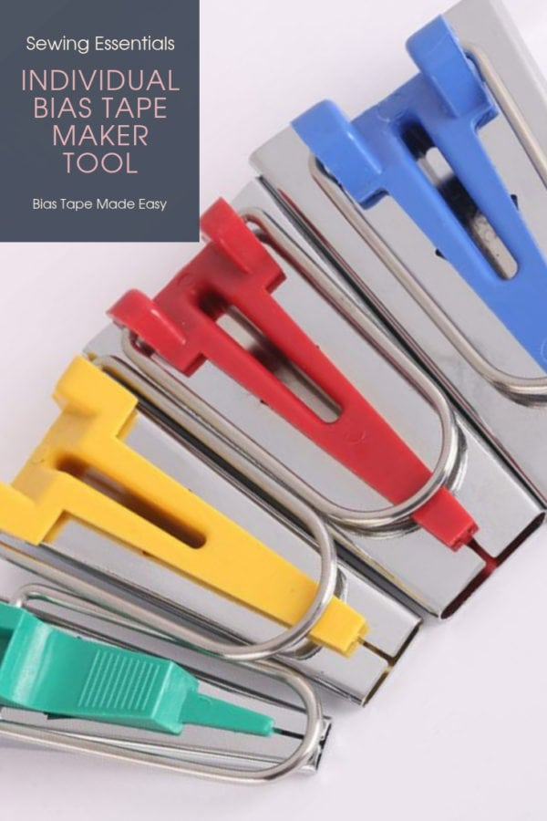 Individual Bias Tape Maker Tool, available in sizes: green 6mm, yellow 12mm, red 18mm and green 25mm. Cut your fabric on the bias, feed through, and press.