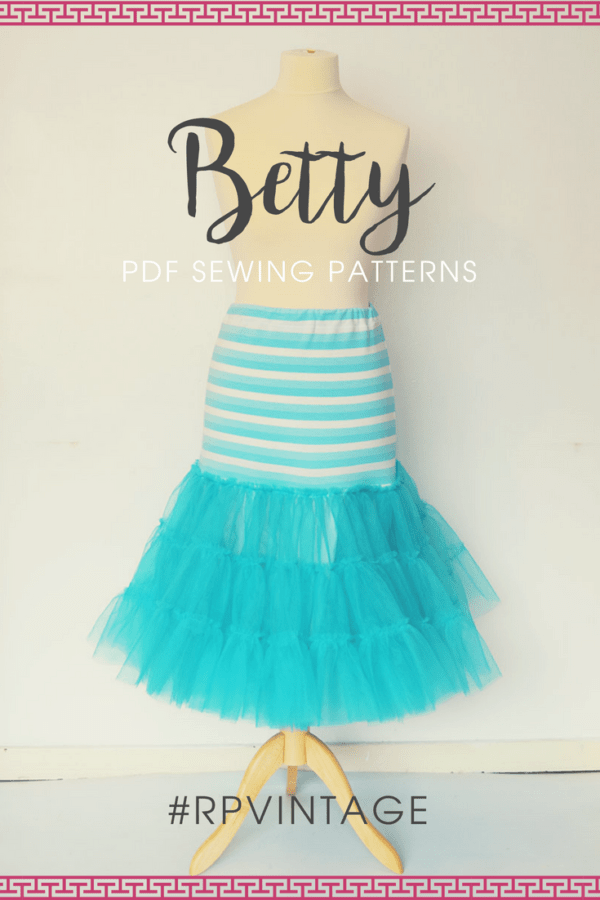 Take the Betty skirt and skyrocket the wow factor by adding volume with this gorgeously frilly and twirly Betty vintage petticoat sewing pattern.