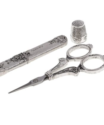 Vintage-Style Sewing Tools Set. Includes a vintage-style scissors, thimble, and needle case in high quality stainless steel and antique silver.