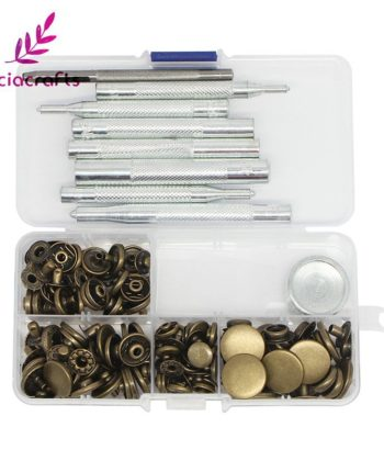 This Metal Snap Box Set - Bronze, Silver or Black includes 10x sets of 10mm, 12mm, 15mm and 17mm metal snaps (40 sets in total). Plus each size tool and 1x 2.5mm punch tool.