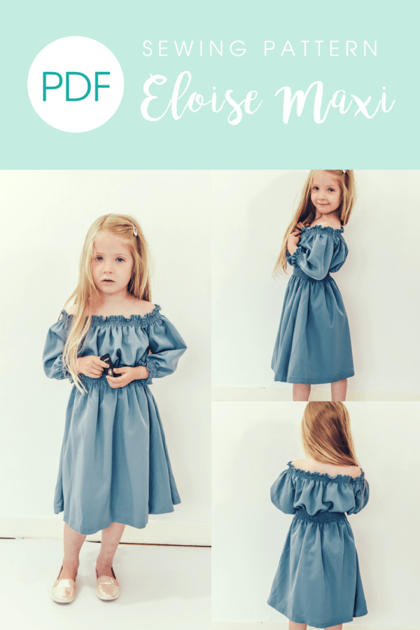 Eloise, the girls off the shoulder maxi sewing pattern is a breezy swimwear cover up, a sweet and comfy summertime dress, and even a special-occasion maxi.