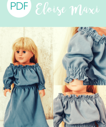 Eloise, the dolls off the shoulder maxi sewing pattern is a delightfully sweet dress-up matchy-match for your little lady and her even littler lady!