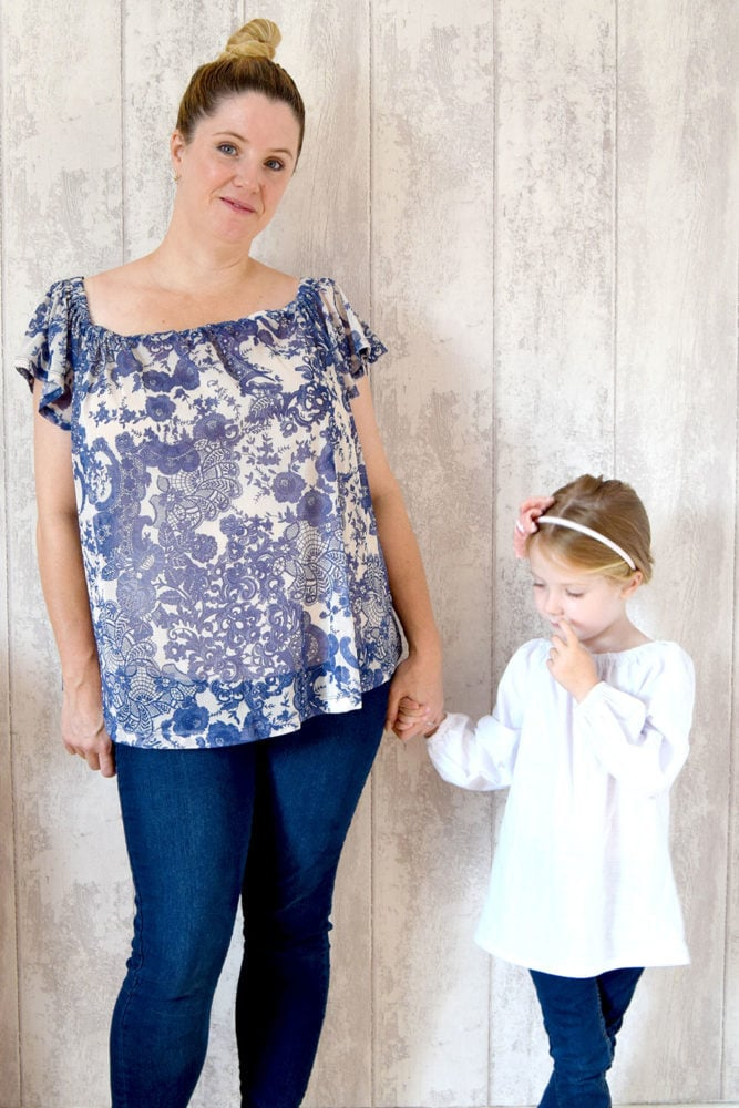 Olivia is a peasant top sewing pattern that is simply beautiful with a gathered boat neck and a relaxed, comfy fit that is loose and floaty around the body.
