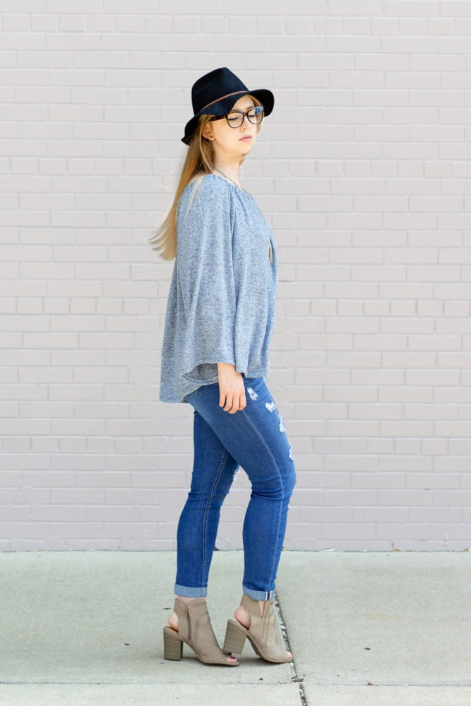 Olivia is a ladies peasant top sewing pattern that is simply beautiful with a gathered boat neck and a relaxed, comfy fit.