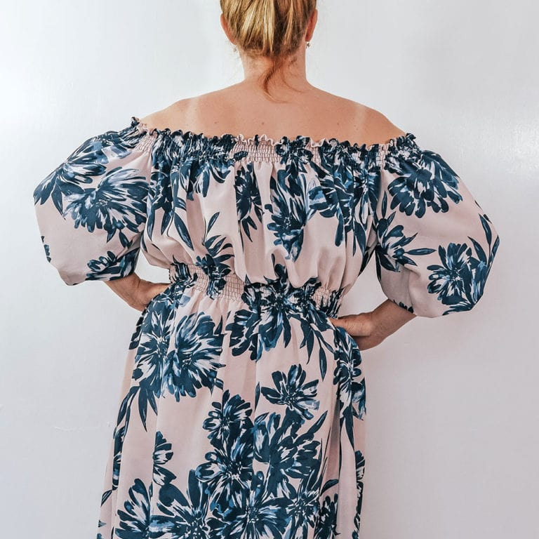 Eloise, the ladies off the shoulder maxi sewing pattern, is a breezy cossie cover up, a deliciously leisurely lunch outfit, or even a cocktail evening maxi.