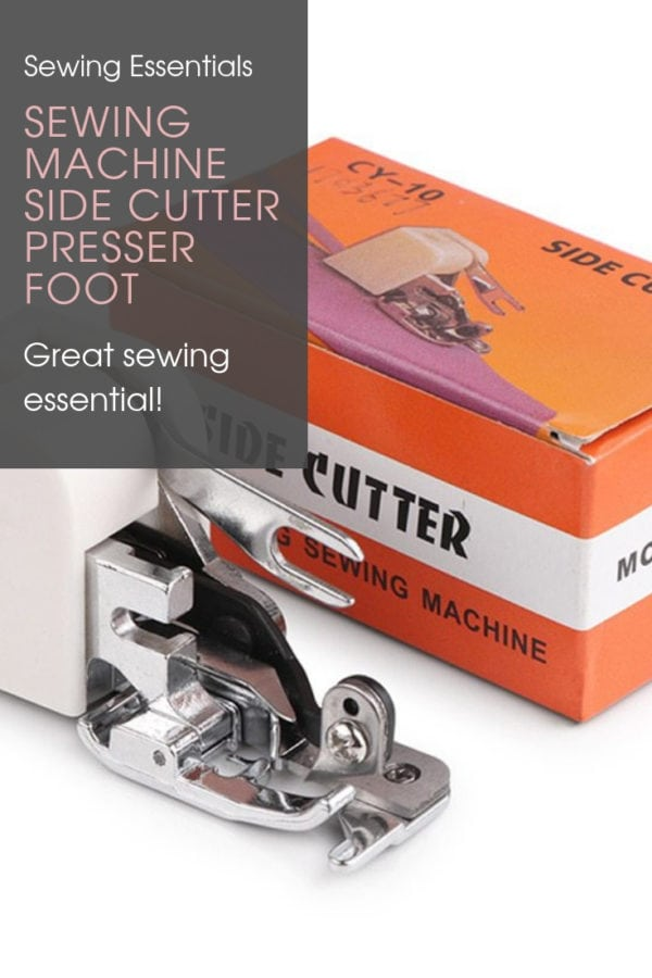 This sewing machine side cutter presser foot attachment is for use on all low-shank domestic sewing machines including Brother, Janome and Elna.