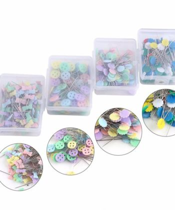 100 Piece Boxed Novelty Sewing Pins in your choice of Flowers, Bow ties, or Buttons.