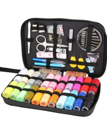Multi-function Travel Sewing Kit with Needles, Thread, Threader, Tape, Scissors, in a Storage Bag in either 25, 90, or 94 pcs.
