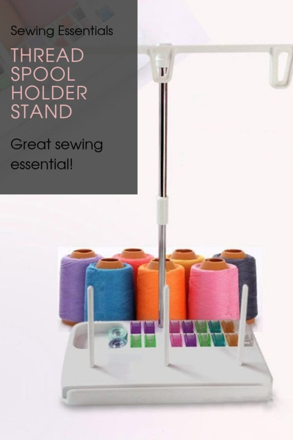 Thread Spool Holder Stand. The stand holds 3 thread spools, and the base acts as a bobbin holder.