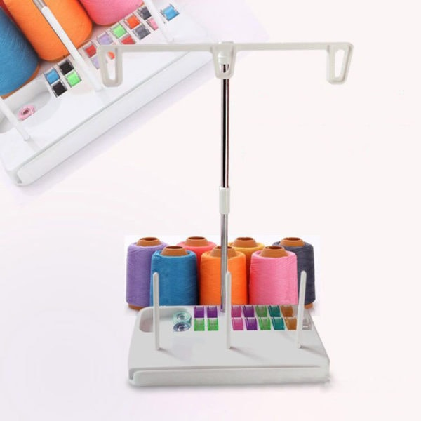 Thread Spool Holder Stand. The stand holds 3 thread spools, and the base acts as a bobbin holder