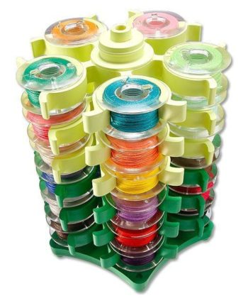 Stack'N Store 30 Bobbins Tower Storage. Stores up to 30 bobbins in a cute, convenient, and space-saving plastic tower storage piece.