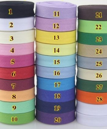 15mm Single Fold Cotton Bias Binding/ Bias Tape in your choice of many different color options