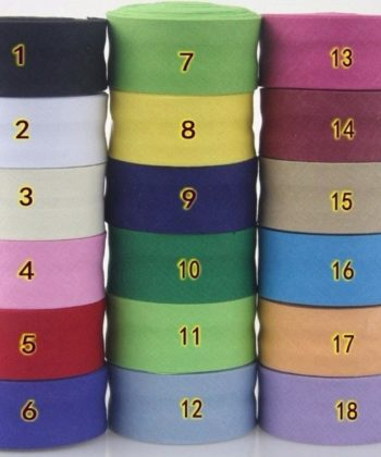 25mm Single Fold Cotton Bias Binding/Bias Tape in your choice of many different color options.