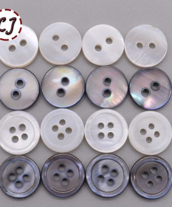 White/Grey/Natural Mother of Pearl 12mm Round Buttons Set of 30