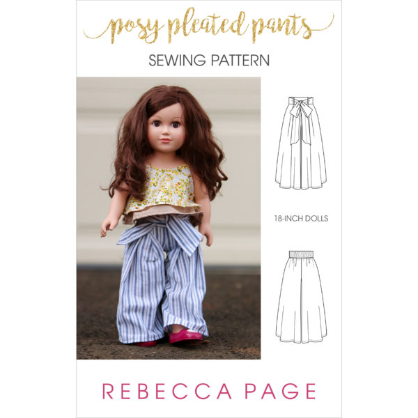 This 18-inch doll's pleated pants sewing pattern is cuteness overload. The wide-legged trousers are a beautiful gift for your doll's wardrobe.