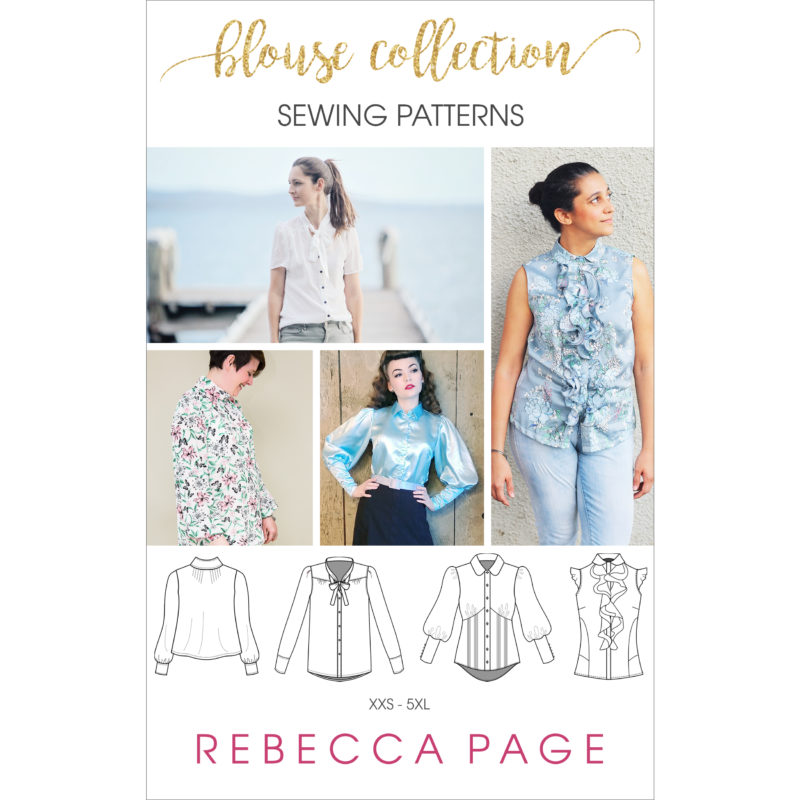 A beautiful bundle of ladies blouse sewing patterns. The collection includes the Brielle, the Madison, the Riviera Ruffle, and the Very Vintage blouse patterns.