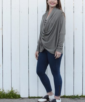 Classic comfort and sporty elegance meet in a perfect partnership to bring you this extremely flattering ladies cowl jumper sewing pattern.