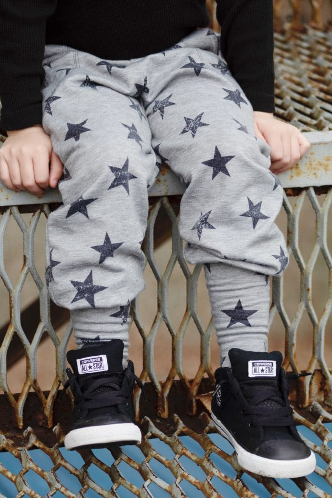 What happens when comfort and cool collide? You get this childrens joggers sewing pattern! One piece of clothing that goes from pjs to classroom!