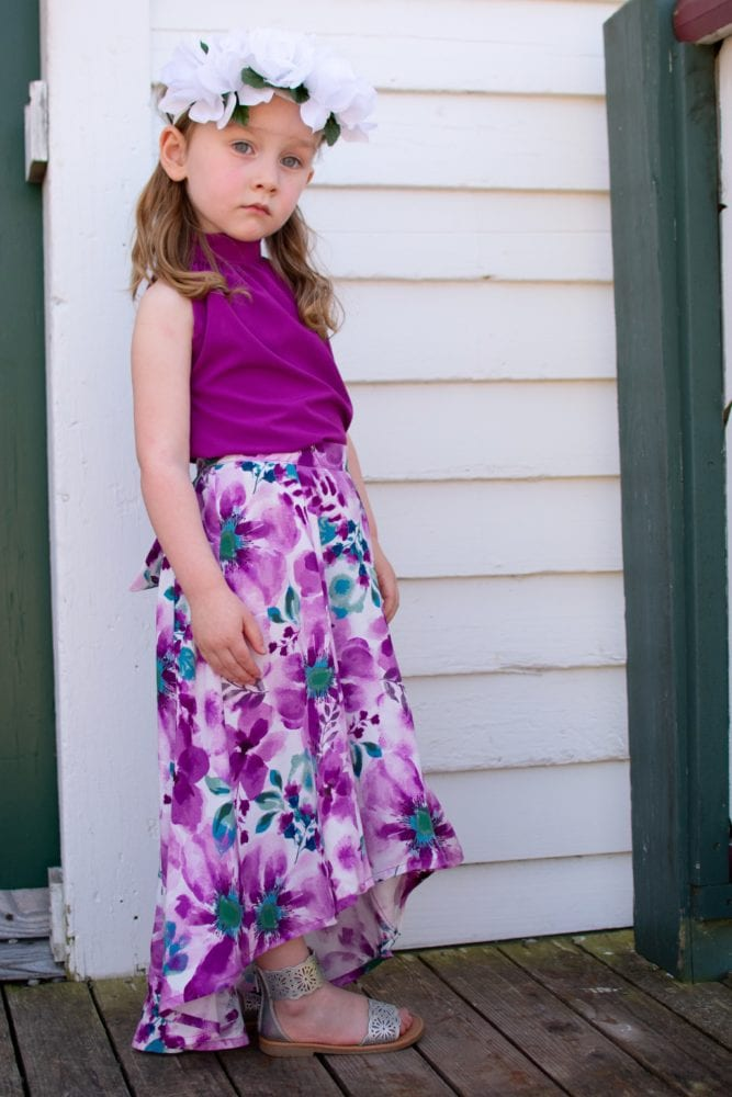 Flowy and fun, the childrens high low skirt sewing pattern gives your kidlet HIGH impact with LOW effort! It's got maximum wow factor and is a really quick and easy sew!With the Hayley you get a five-panel skirt with an elasticated back waist and a brilliantly billowy back train! Even better… you can add POCKETS! And a sash that you can tie in the front or the back.