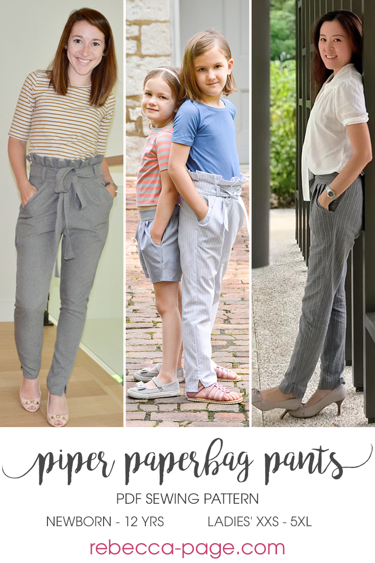 Piper is a super stylish, cute and comfy ladies' and children's paperbag pants sewing pattern with pockets. Slim fitting, practical, flattering trousers!