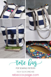 This simply lovely and practical tote bag sewing pattern is a fantastic carry all! It's large enough to be used from handbag to beach bag to book bag!