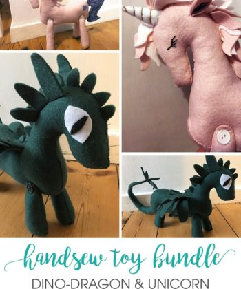 It's time to get crafty with these super cute handsewn toy patterns! This bundle gives you the Dino-Dragon and the Unicorn in one wonderful bundle.