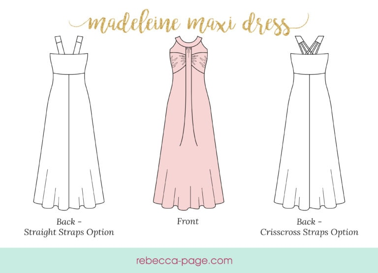 Madeleine, this gorgeous XXS to 5XL Grecian maxi dress sewing pattern is elegant AND comfy for all body types, including expectant mama bears!