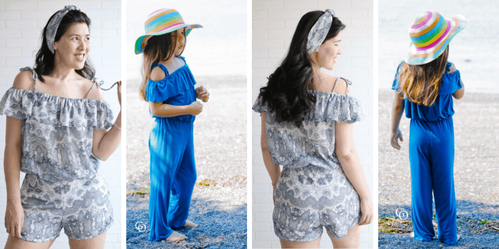 Jill is a summery off the shoulder jumpsuit sewing pattern in sizes newborn to 12 years and XXS to 5XL. The frilled flounce around the shoulders adds some extra fun detailing!