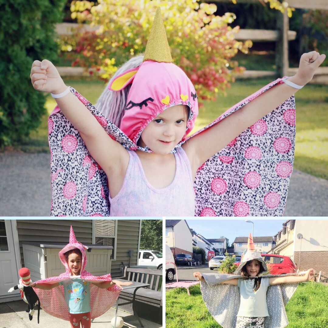 The Unicorn Cape sewing pattern is a beginner-friendly step-by-step guide to creative fun! It comes in sizes XS to XL and has a bunch of different options!